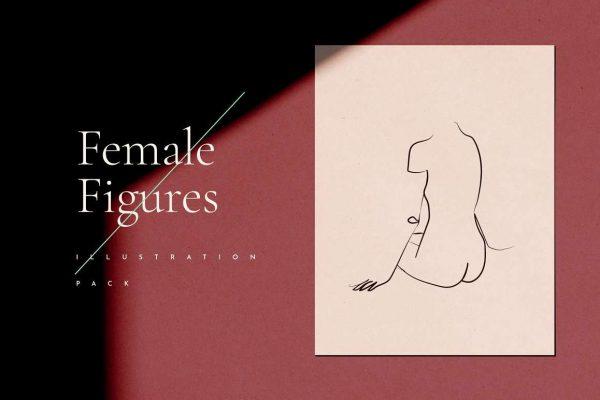 Female Figures Line Drawings