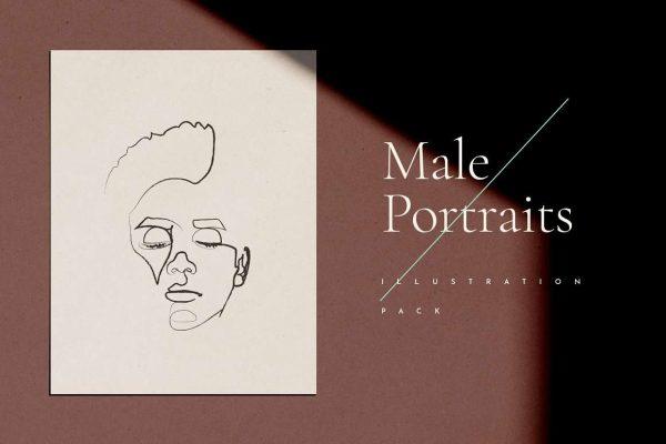 Male Portrait Line Drawings